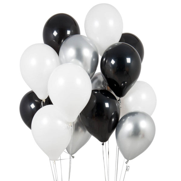 14 Monochrome Party Latex Balloons