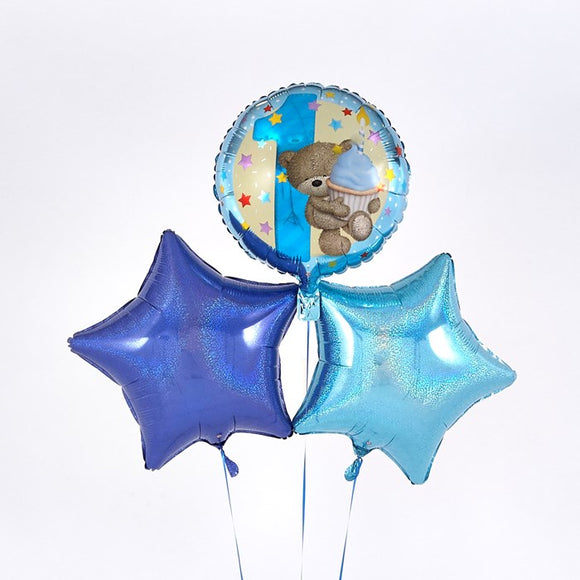 1st Birthday Hugs and Cupcake Blue Balloon Bouquet