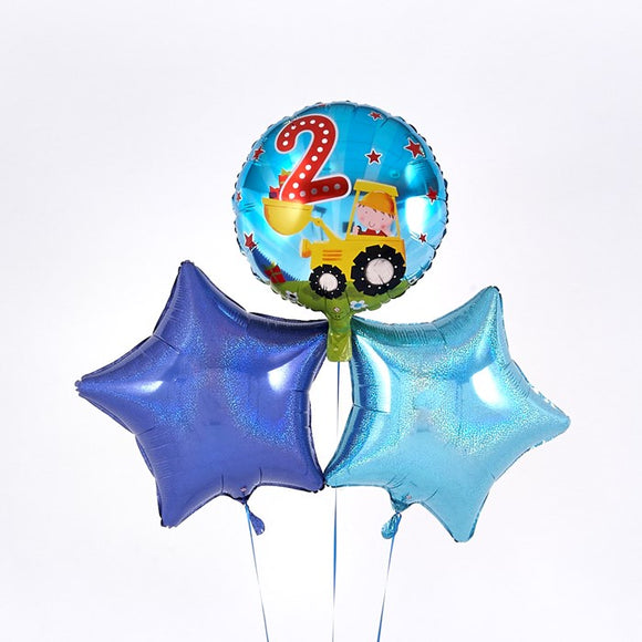 2nd Birthday Digger Blue Balloon Bouquet