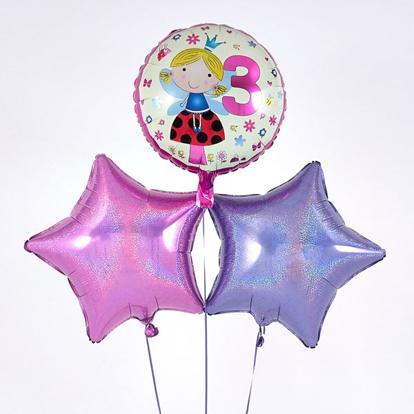 3rd Birthday Fairy Pink Balloon Bouquet