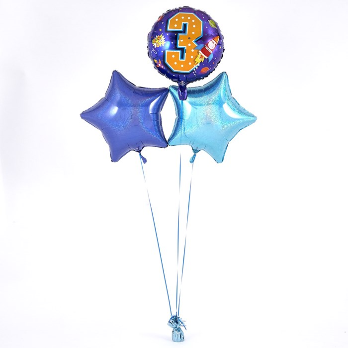 3rd Birthday Space Rocket Blue Balloon Bouquet