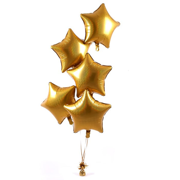 5 Gold Stars Balloon Bouquet