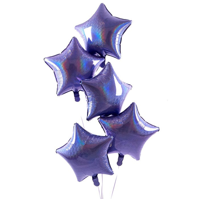 5 Lilac Stars Balloon Bouquet