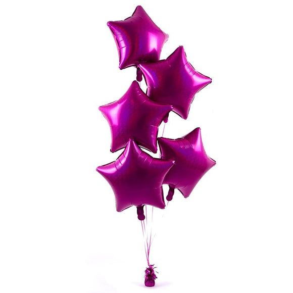 5 Magenta Stars Balloon Bouquet