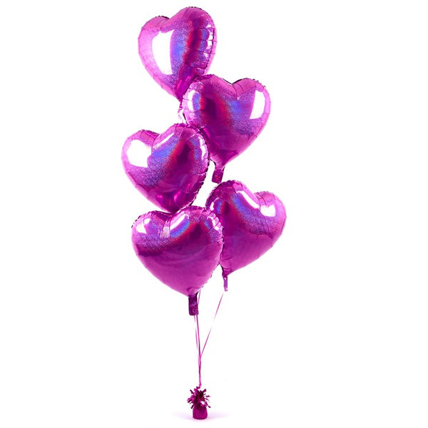 5 Light Pink Hearts Balloon Bouquet
