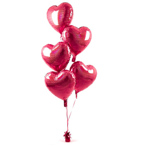 5 Red Hearts Balloon Bouquet