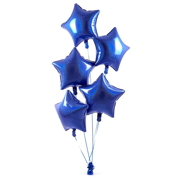 5 Royal Blue Stars Balloon Bouquet
