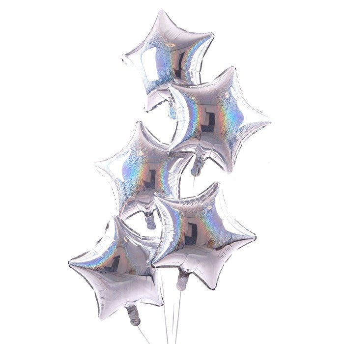 5 Silver Stars Balloon Bouquet