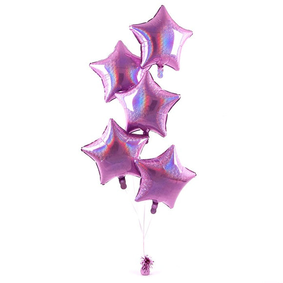 5 Pink Stars Balloon Bouquet