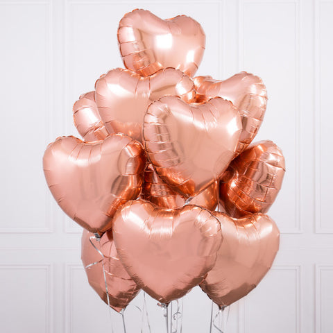 One Dozen Rose Gold Heart  Foil Balloons