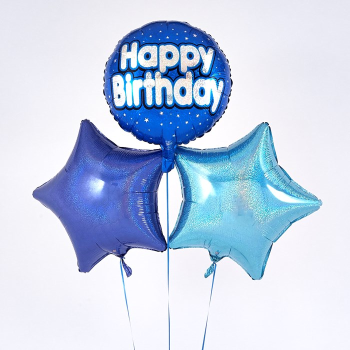 Blue 'Happy Birthday' Balloon Bouquet