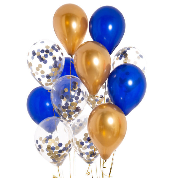 14 Midnight Blue Confetti Balloons