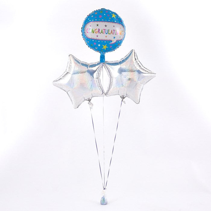 Congratulations Blue Balloon with Silver Balloon Bouquet