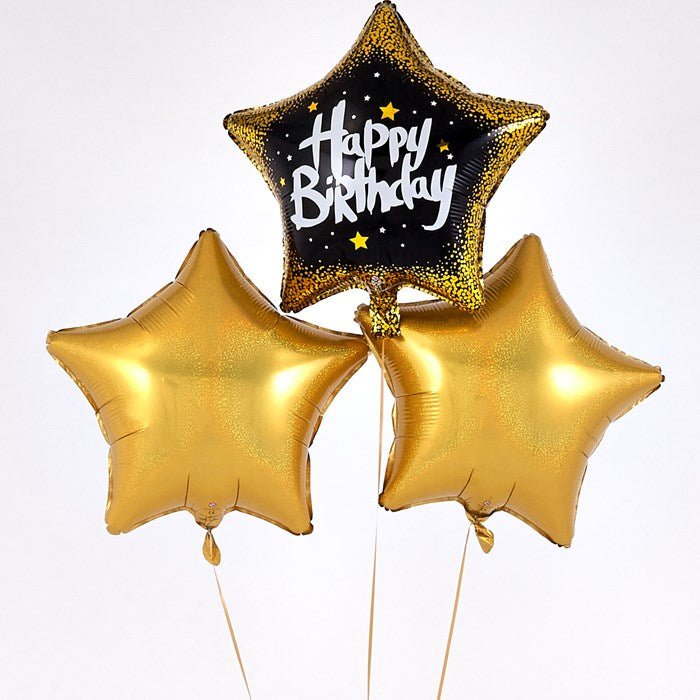"""Happy Birthday"" Black Star Golden Balloon Bouquet"