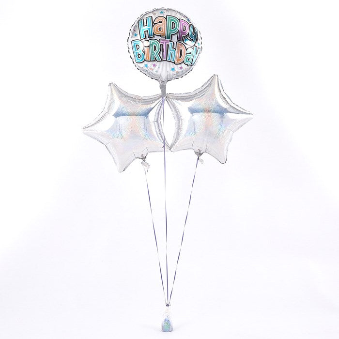 Happy Birthday Bubble Text Silver Balloon Bouquet