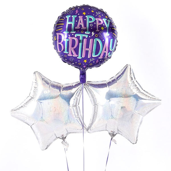 Happy Birthday Confetti Style Silver Balloon Bouquet