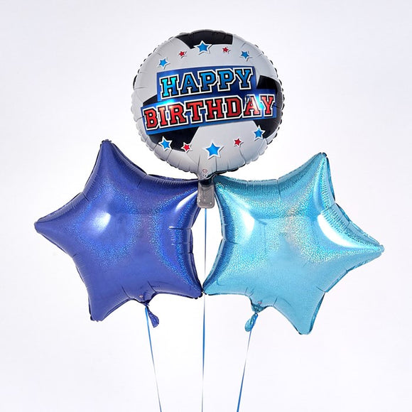 Happy Birthday Football Blue Balloon Bouquet