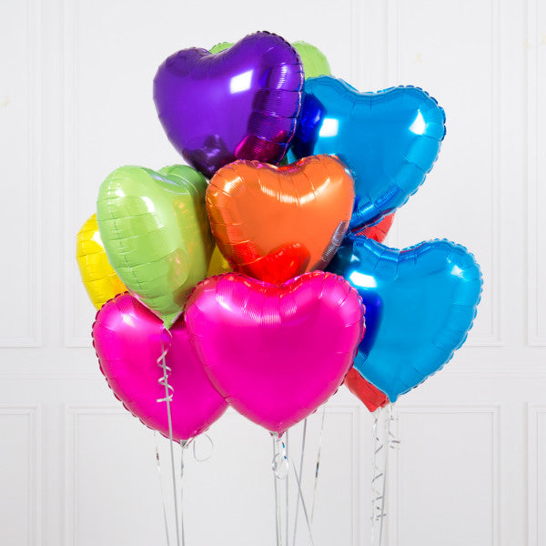 One Dozen Rainbow Bright Hearts Foil Balloons