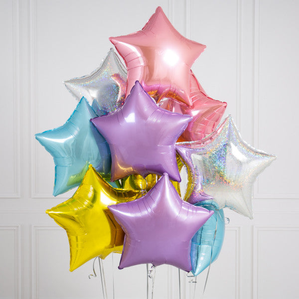 Ten Unicorn Stars Inflated Foil Balloons
