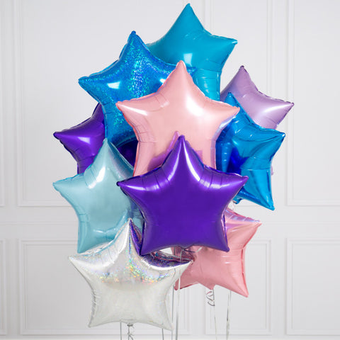 Ten Mermaid Stars Inflated Foil Balloons