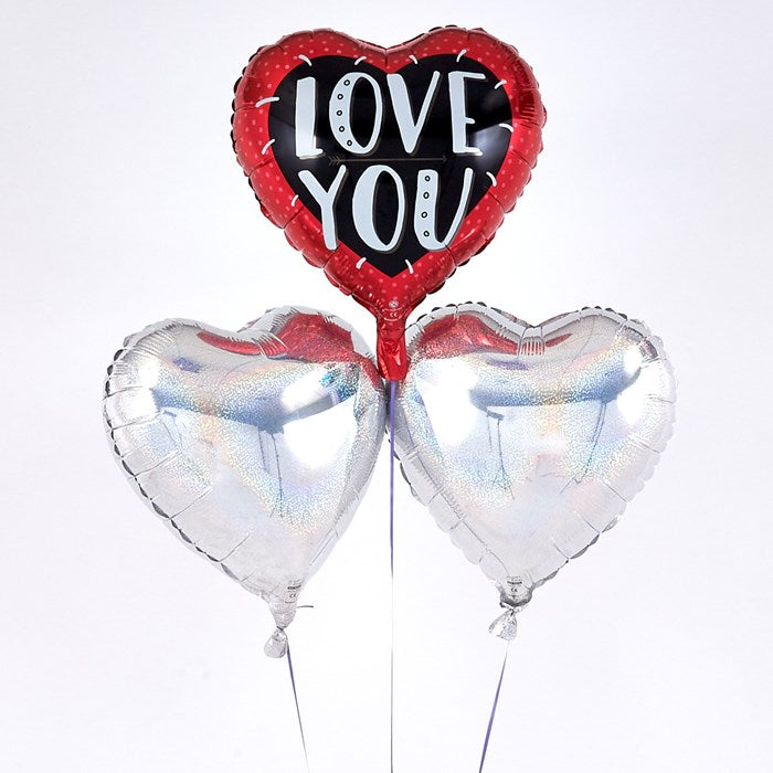 """Love You"" Red, Black & Silver Romantic Balloon Bouquet"