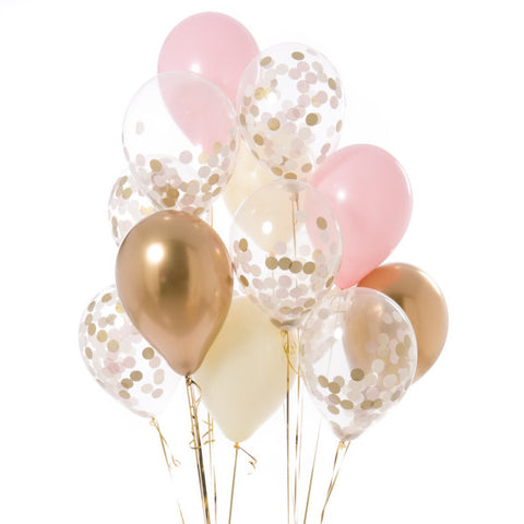 14 Baby Pink Confetti Balloons