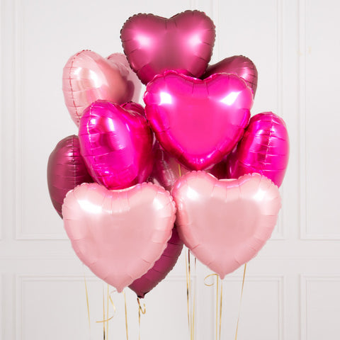 One Dozen Berry Blush Hearts Foil Balloons