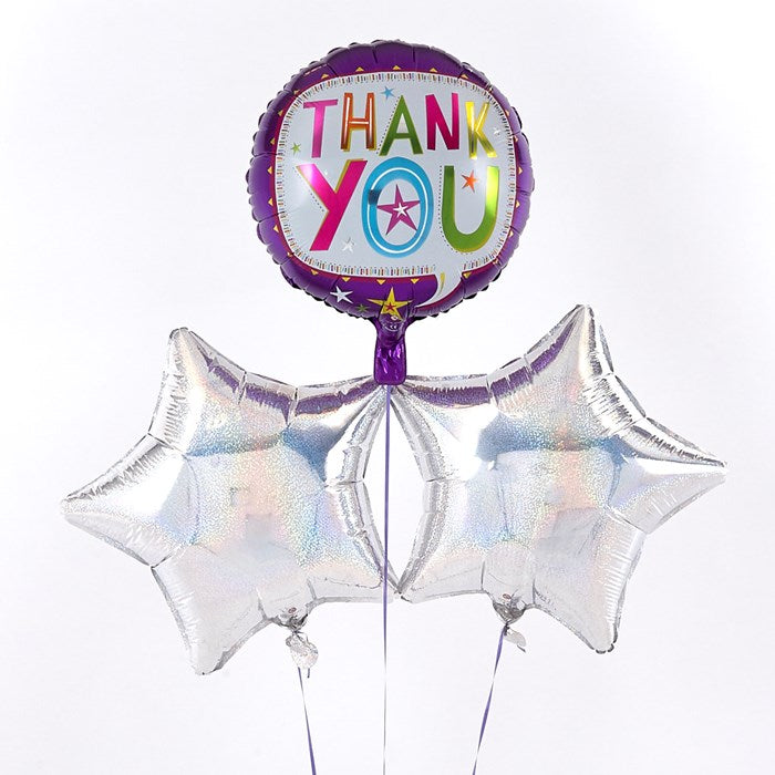 Purple Thank You Balloon with Silver Balloon Bouquet