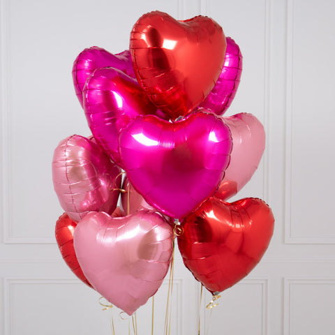 One Dozen Mixed Red Heart Foil Balloons