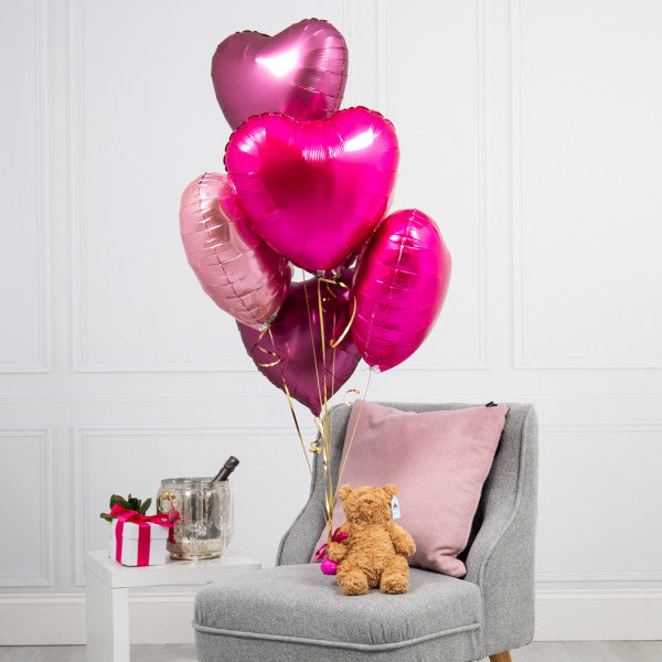 Half Dozen Berry Blush Hearts & Bear Inflated Foil Bunch