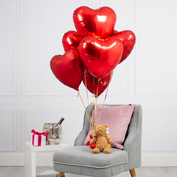 Half Dozen Red Hearts & Bear Inflated Foil Bunch