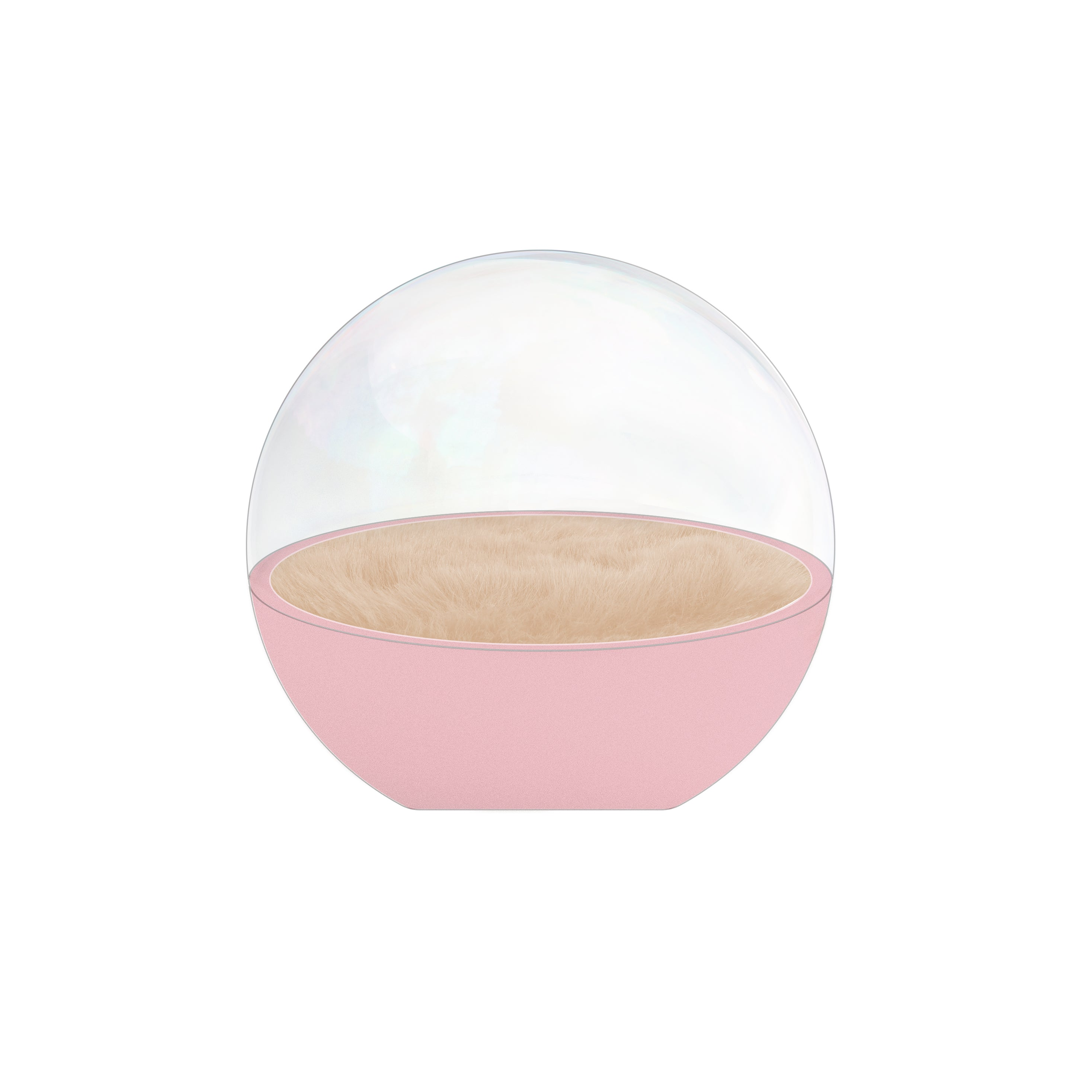 Bubble Capsule [Dusty Pink Concrete + Pale Blush Faux Fur]