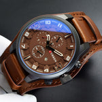 2018 Luxury Brown Leather Strap Quartz Watch for Men