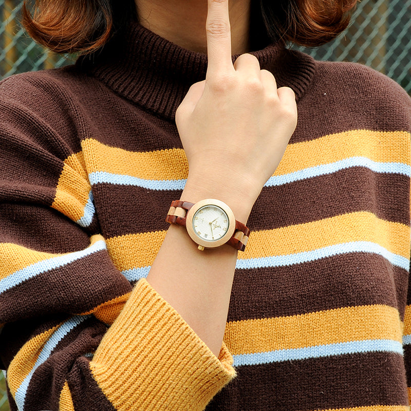 Women Quartz Watches Fashion Brand with Full Wooden Band in Gift Box