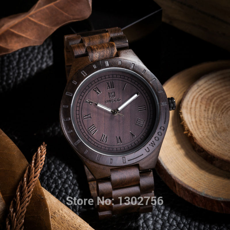 2018 New Natural Black Sandal Wood Analog Watch For Unisex