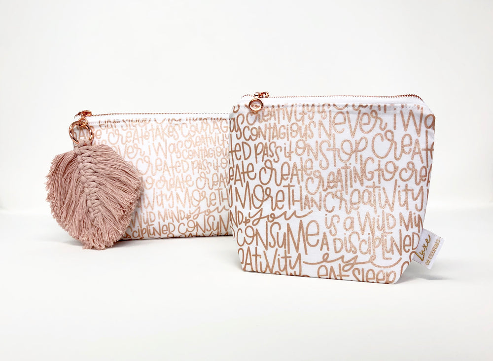 Load image into Gallery viewer, Rose Gold Grafitti Essential Oil Bag