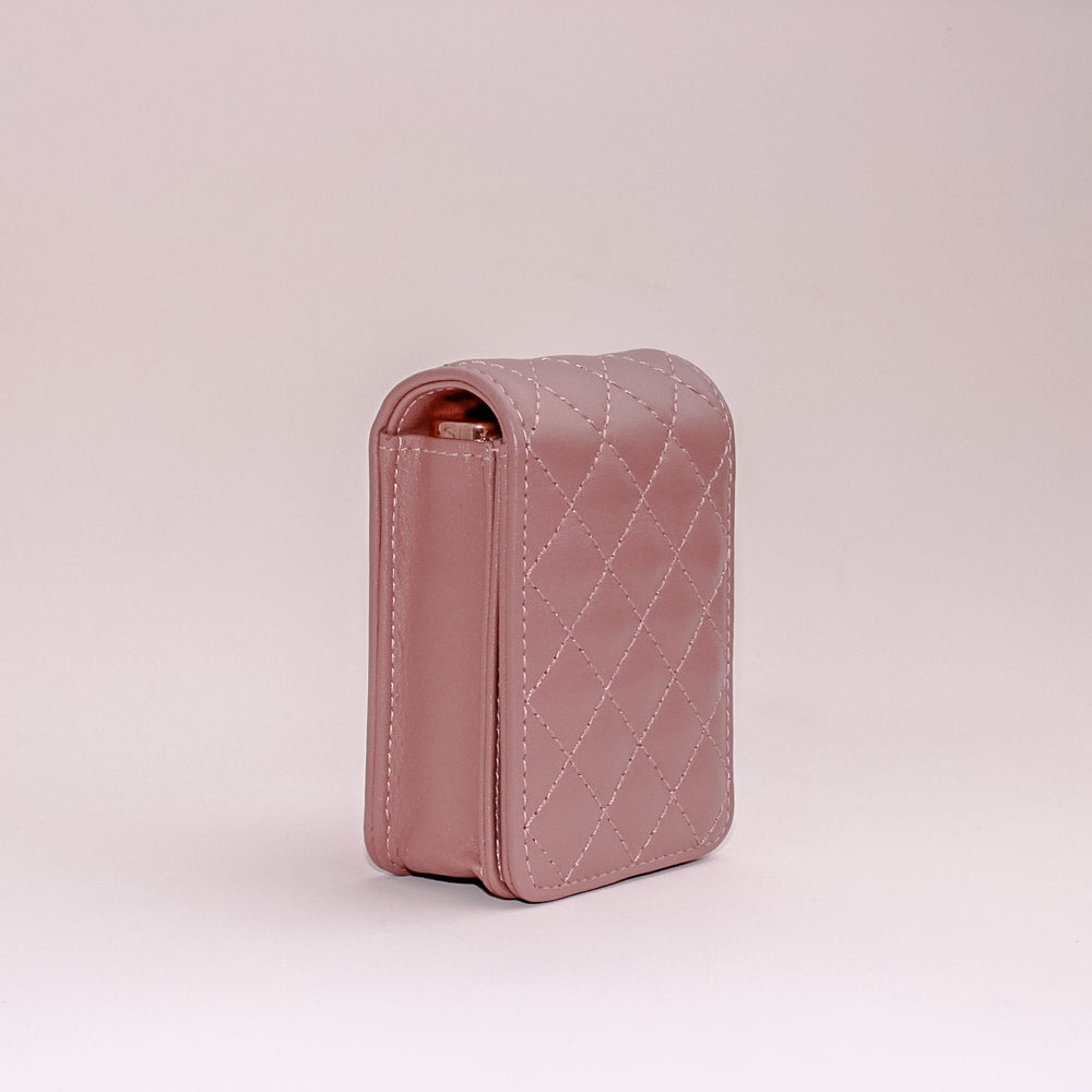 Blush Quilted Leather Roller Bottle Case