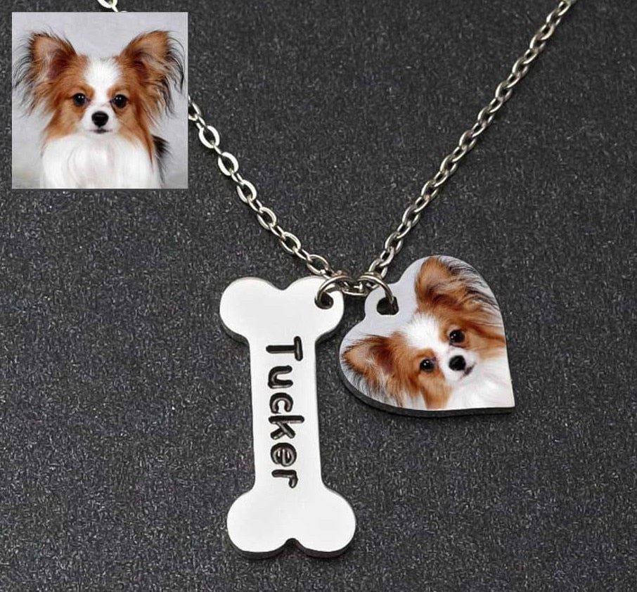 Custom Picture Necklace Personalized Photo Necklace Custom Pet/Cat/Dog Photo Engrave Name Jewelry , Memorial Gift, Gift for Her