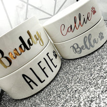 Load image into Gallery viewer, personalized pet name bowls , Cutom ceramic pet bowl / dog bowl / cat bowl pet feeder / white pet bowl accessory favors gifts