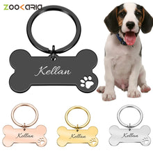 Load image into Gallery viewer, Personalized Collar Pet ID Tag Engraved Pet ID Name for Cat Puppy Dog Tag Pendant Keyring Bone Pet Accessories
