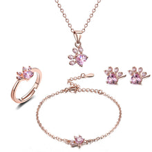 Load image into Gallery viewer, 4-piece Rose Gold Paw Jewelry Line