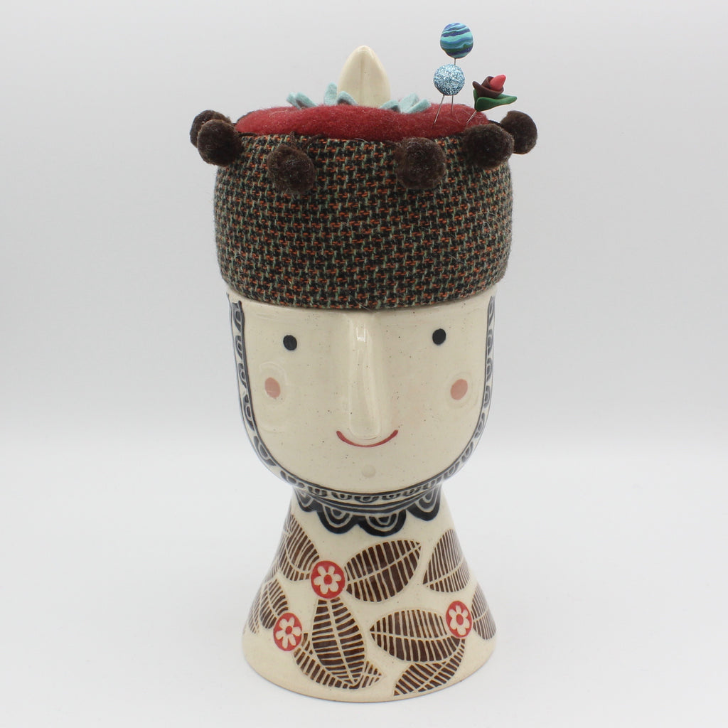 Ceramic Sewing Box with Pincushion Lid