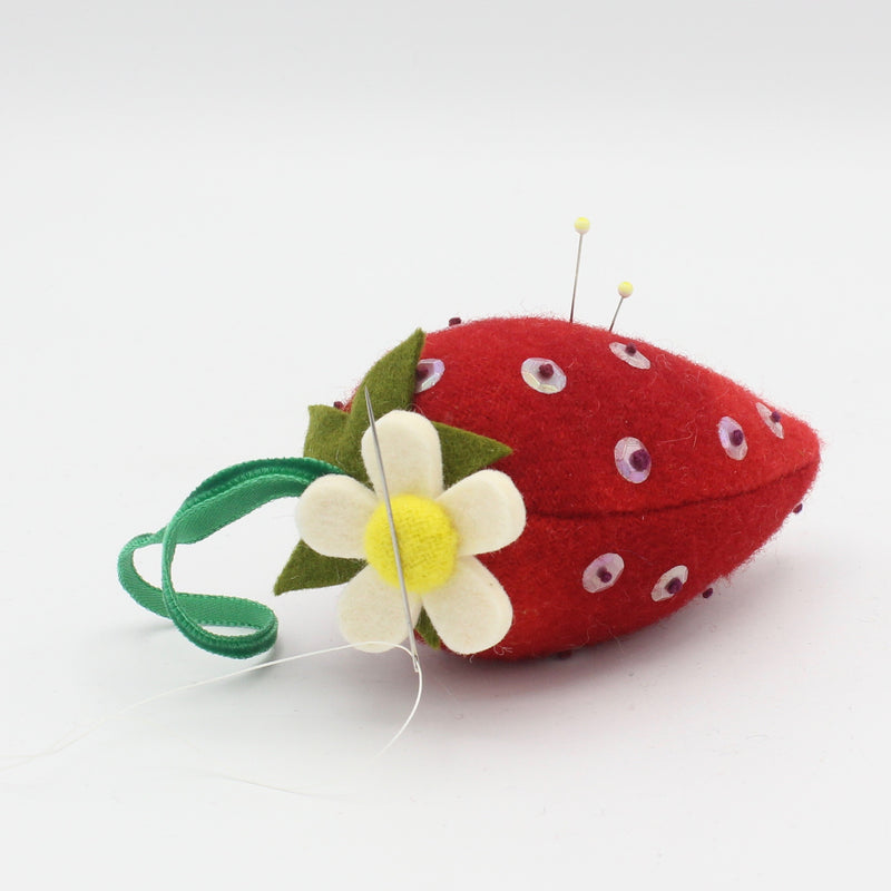 Strawberry Pincushion with Magnetic Flower Needleminder
