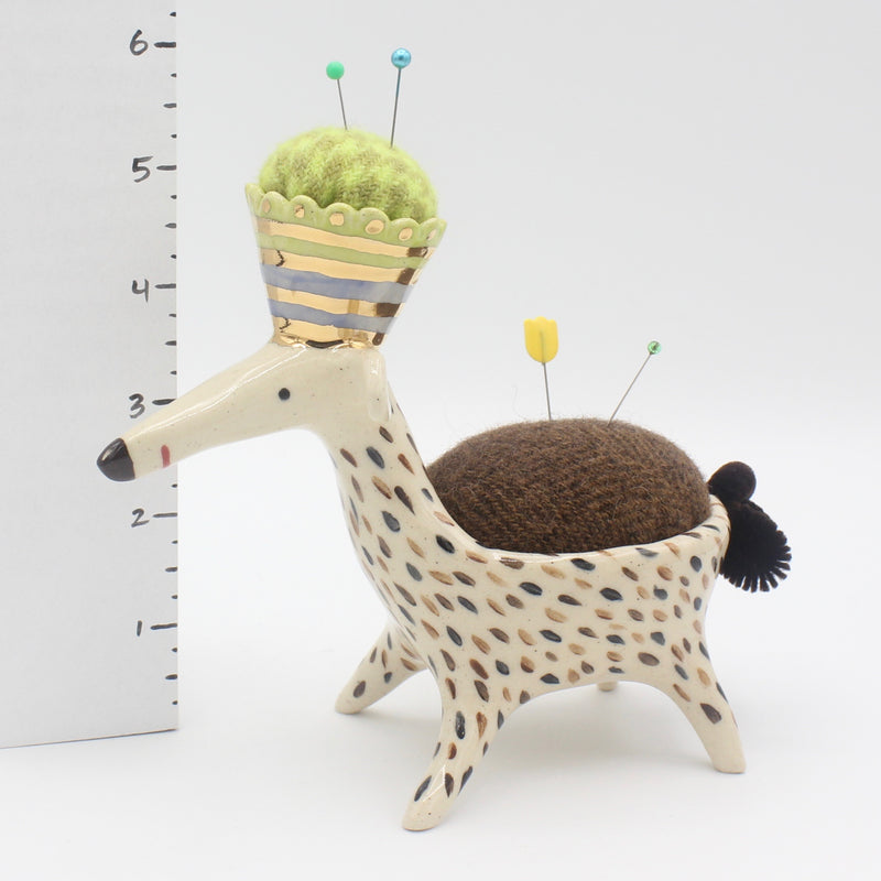 Super Sidekick Pincushion with Gold Luster Crown