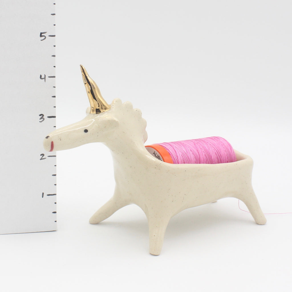 Thread Pooping Unicorn with Gold Luster Horn
