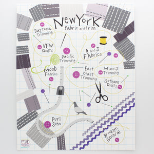 Art Print-Map of New York Fabric and Trim
