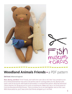Woodland Creatures sewing PDF pattern