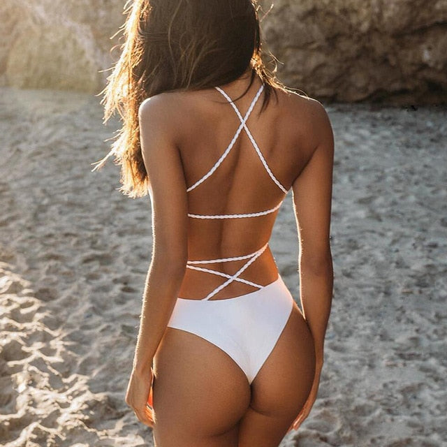 Sexy Criss Cross- One Piece Swimsuit - White
