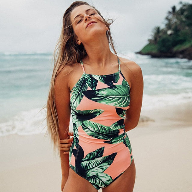 One Piece Swimsuit- Retro Patterns - Green and white leaves