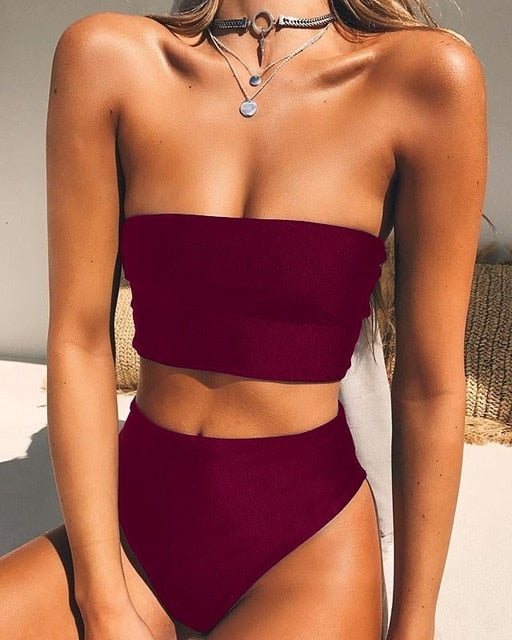 High Waist Bandeau Bikini Set - Wine Red